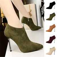 Women Ladies Fuax Suede Ankle Boots Zipper Stiletto High Heels Pointed Toe Shoes