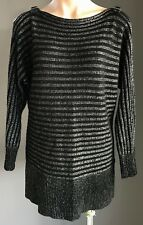 CROSSROADS Black & Silver Lurex Stripe Cold Shoulder w Buckle Knit Size 14
