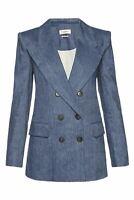 ISABEL MARANT ETOILE Orka Blue Double Breasted Linen Blend Blazer Jacket 36 US 4