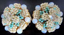 STANLEY HAGLER Massive Turquoise Glass Bead Earrings
