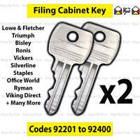 2 x Filing Cabinet Keys - Codes 92201 to 92400 L&F, Bisley,  Silverline, Triumph