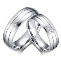 Band Jewelry Stainless Steel Love Couples Promise Wedding Engagement Rings Gift