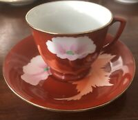 Vtg Tang Shan Tangshan China, 1960 Rare Floral Red Teacup And Saucer. Perfect!