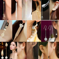 Creative Shiny Crystal Women Party Dangle Long Tassel Hook Drop Linear Earrings