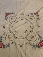 "VINTAGE WHITE COTTON SQUARE EMBROIDERED APPIQUE LACE TABLECLOTH  48""x 50"" VGC"