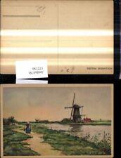 172130,Künstler Ak Windmühle Frau m. Tragejoch Hollandse Molens