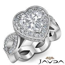 Heart Cut Diamond Engagement Wedding Band GIA F SI1 Platinum Unique Ring 2.3 ct