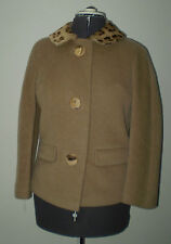 50s Vintage Tan Wool Jacket w/ Leopard Ponyhair Collar & Buttons