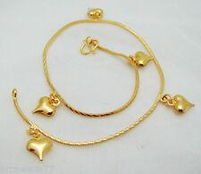 Heart 22K 24K Thai Baht Gold Plated Jewelry Bracelet Charm Anklet Bell 9 inch