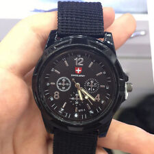 Classic Design Quartz Men Wrist Watch Black Nylon Band Swiss Army WristWatch