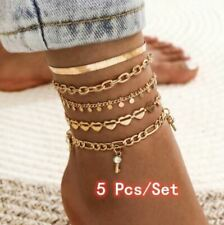 Crystal Key Trendy Snake Chain Anklet 5 Pcs/Set Women Fashion Gold Color Heart