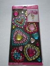 Crafts Stickers Jolee's Bling Gems Hearts Large Small Blue Pink Flower Yellow ++