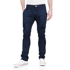 Mens Stretch Slim Fit Cargo Chinos Skinny Designer Twill Work Combat Trousers