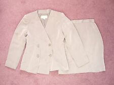 Byblos grey silk blend skirt suit Pencil skirt + jacket Made in Italy UK 12