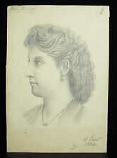 Portrait pencil of Martie Duborgel dated 1884 signed II Yellow 8 5/16in per 5 1/