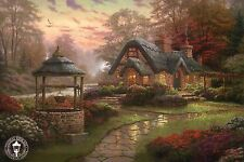 Make A Wish Cottage - Garden, Well, Flowers etc - Thomas Kinkade Dealer Postcard