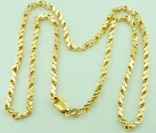 18K Solid Yellow Gold Slanted Diamond Cut  Necklace Chain 24 Inches Unisex
