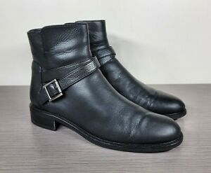 Aquatalia Nellie Buckled Ankle Bootie, Black Leather, Womens Size 11   $495