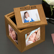 Personalised Oak Wooden Photo Frame Cube Grandma Mummy Dad Keepsake Memory Box