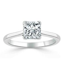 1.00 Ct Princess Cut Solitaire Diamond Wedding Ring 14K Real White Gold Size N O
