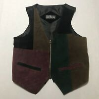 Vintage 80s Shebang Color Block Leather Zipper Vest Size S