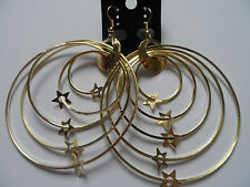 FUNKY RETRO GOLD GRADUATED HOOPS &  STAR CHARMS EARRINGS 3inch new voile pouch