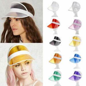 Summer PVC Hat Sun Visor Party Casual Hat Clear Plastic Adult Sunscreen Cap US
