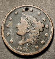1836 Coronet Head Large Cent 1c Nice Details Collectible Type Coin Holed