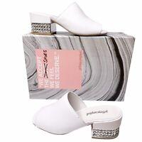NEW Jeffrey Campbell 5.5 White Leather Teseida Embellished Heel Slides Jeweled