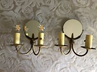 Pair Art Deco, Art Nouveau  Solid Brass or  Bronze Sconces With Mirrors