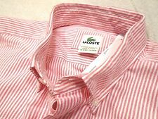 Lacoste 100% Cotton Oxford Cloth Pinkish Red Striped Sport Shirt NWT LT $115
