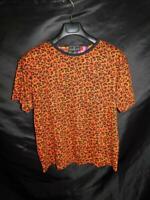 Vintage 80s Carole Little M Orange Black Leopard Print T Shirt Cotton Knit Tee