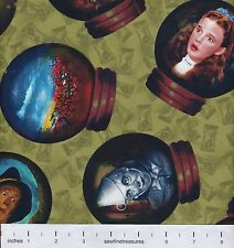 Wizard of OZ Wicked Witch Castle CAMEO GLOBES on GREEN Fabric By the FQ - 1/4 YD