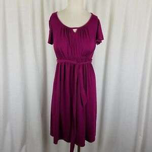 Oh Baby Motherhood Maternity Belted Tie Empire Keyhole Waist Dress Womens S