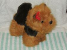 Vintage Gerber Precious Plush Brown Black Puppy Dog with Red Bow Stuffed