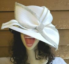 VINTAGE CHURCH LADY WHITE RHINESTONE HAT 22""