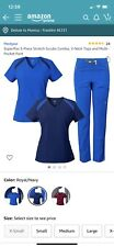 Mg SuperFlex 3-Piece Stretch Scrubs Combo, Royal Navy Blue Size 2Xl