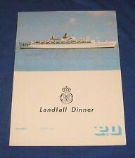P & O Cruise Liner Oriana Dinner Menu 1972