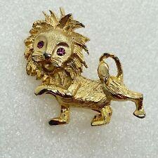Vintage LION CUB BROOCH pin Rhinestone Gold Tone Wild Cat Costume Jewelry