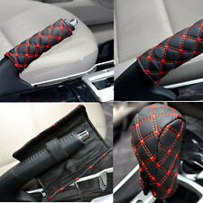 2 Pcs Car Hand Brake Leather Case & Gear Shift Case Interior Accessories WB