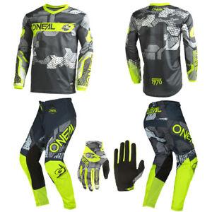 O'Neal Element Camo Neon Jersey Pants Gloves motocross dirt bike riding package