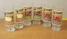 1981 Roger Johnson Needle Point Art 2-Pig ,2-cow and 2-sheep Glass set of 6
