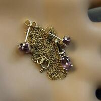 9 ct GOLD second hand amethyst pendant & chain