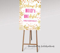 Printable Personalised One-derful Welcome Sign Birthday party One 1st Pink Gold