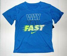 Nike Boys T-Shirt Way Too Fast Blue Dri Fit Size 4 NWT