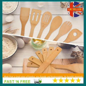 6 pcs Bamboo Wooden Spoons Spatula Kitchen Cooking Tools Cookware Organic