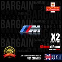 2X M SIDE WING BADGE POWER EMBLEM ABS CHROME Sport 1 3 4 5 6 7 Series X5 M3 M5