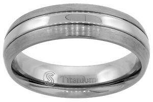 6mm Titanium Ring Men Women Wedding Band Polish Stripe Center Domed Brushed Edge