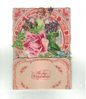 Girls With Flowers & Hearts Vintage Stand-Up Valentine's Day Card Germany