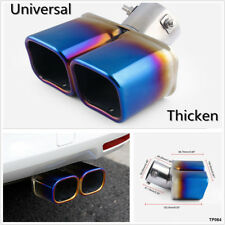 """Car 2.5"""" Stainless Steel 1to2 Twin Double Dual Exhaust Pipe Chrome Colorful Blue"""